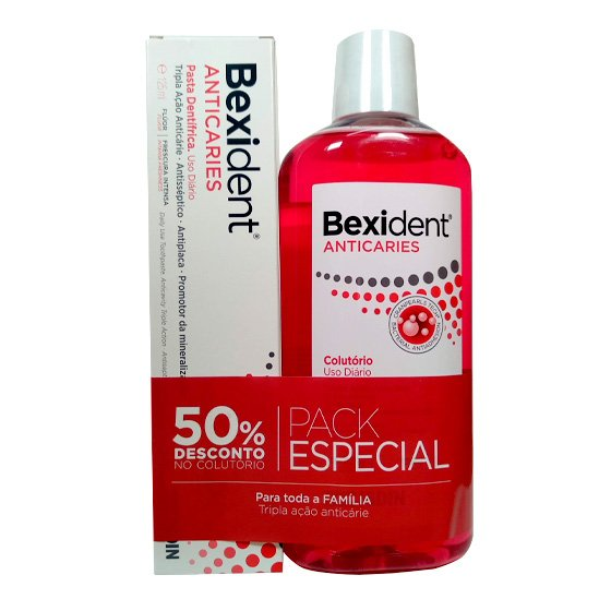 BEXIDENT ANTICARIES TOOTHPASTE 125 ML + MOUTHWASH 500 ML WITH 50% DISCOUNT