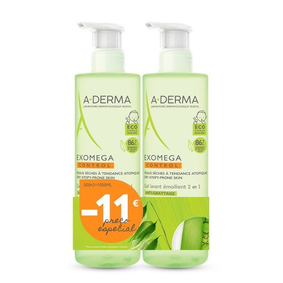A-DERMA EXOMBATES CONTROL DUO GEL FOR BODY AND HAIR 2 X 500 ML WITH 10 € DISCOUNT