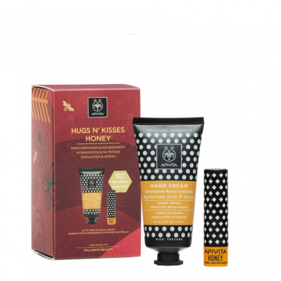 APIVITA HUGS N' KISSES HONEY CREME DE MAOS COM ACIDO HIALURONICO 50 ML + STICK LABIAL 4.4 G COM PRECO ESPECIAL NATAL 2019