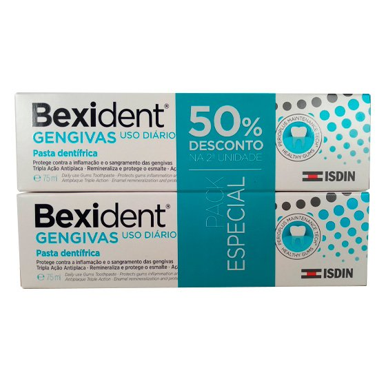 BEXIDENT GUMS DUO PASTA DENTIFRICS MAINTENANCE TRICLOSAN 2 X 75 ML WITH DISCOUNT ON 2nd PACKAGE